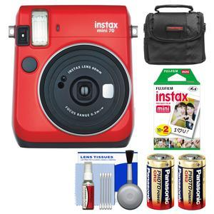 Fujifilm Instax Mini 70 Instant Film Camera - Passion Red - with 20 Prints + Case + Batteries + Kit