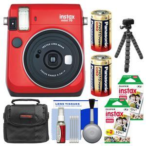 Fujifilm Instax Mini 70 Instant Film Camera - Passion Red - with 40 Prints + Case + Batteries + Flex Tripod + Kit