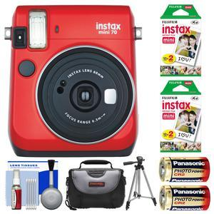 Fujifilm Instax Mini 70 Instant Film Camera - Passion Red - with 40 Prints + Case + Batteries + Tripod + Kit