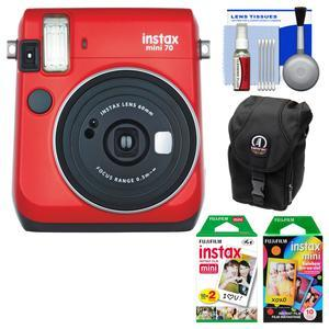 Fujifilm Instax Mini 70 Instant Film Camera - Passion Red - with 20 Twin and 10 Rainbow Prints + Case + Kit