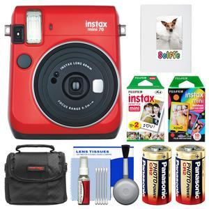 Fujifilm Instax Mini 70 Instant Film Camera - Passion Red - with 20 Twin and 10 Rainbow Prints + Album + Case + Batteries + Kit