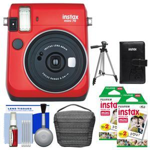 Fujifilm Instax Mini 70 Instant Film Camera - Passion Red - with 40 Color Twin Prints + Case + Album + Tripod + Cleaning Kit