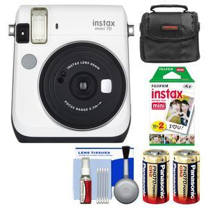 Fujifilm Instax Mini 70 Instant Film Camera - White - with 20 Prints + Case + Batteries + Kit