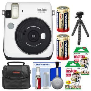 Fujifilm Instax Mini 70 Instant Film Camera - White - with 40 Prints + Case + Batteries + Flex Tripod + Kit
