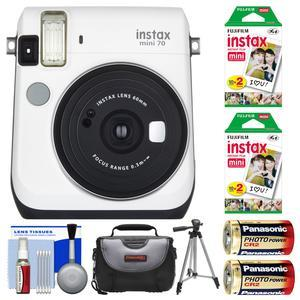 Fujifilm Instax Mini 70 Instant Film Camera - White - with 40 Prints + Case + Batteries + Tripod + Kit