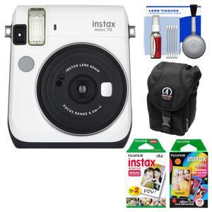 Fujifilm Instax Mini 70 Instant Film Camera - White - with 20 Twin and 10 Rainbow Prints + Case + Kit