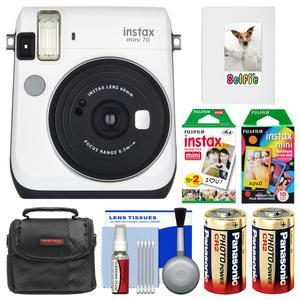 Fujifilm Instax Mini 70 Instant Film Camera - White - with 20 Twin and 10 Rainbow Prints + Album + Case + Batteries + Kit
