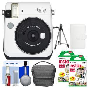 Fujifilm Instax Mini 70 Instant Film Camera - White - with 40 Color Twin Prints + Case + Album + Tripod + Cleaning Kit