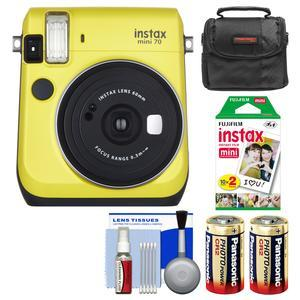 Fujifilm Instax Mini 70 Instant Film Camera - Yellow - with 20 Prints + Case + Batteries + Kit