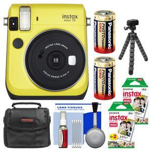 Fujifilm Instax Mini 70 Instant Film Camera - Yellow - with 40 Prints + Case + Batteries + Flex Tripod + Kit