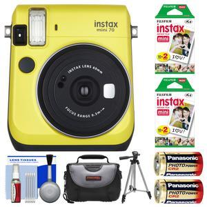 Fujifilm Instax Mini 70 Instant Film Camera - Yellow - with 40 Prints + Case + Batteries + Tripod + Kit