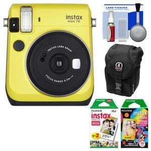 Fujifilm Instax Mini 70 Instant Film Camera - Yellow - with 20 Twin and 10 Rainbow Prints + Case + Kit