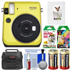 Fujifilm Instax Mini 70 Instant Film Camera - Yellow - with 20 Twin and 10 Rainbow Prints + Album + Case + Batteries + Kit