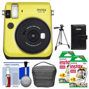 Fujifilm Instax Mini 70 Instant Film Camera - Yellow - with 40 Color Twin Prints + Case + Album + Tripod + Cleaning Kit