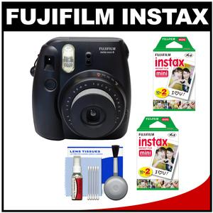 Fujifilm Instax Mini 8 Instant Film Camera-Black-with 40 Instant Film and Cleaning Kit
