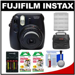 Fujifilm Instax Mini 8 Instant Film Camera-Black-with 40 Instant Film and Case and Batteries and Charger Kit