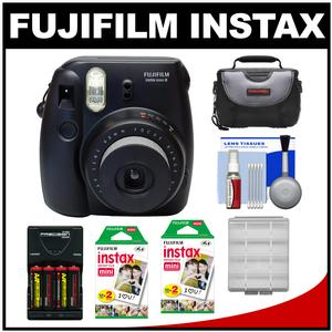 Fujifilm Instax Mini 8 Instant Film Camera-Black-with 40 Instant Film and Case and Batteries and Charger and Kit
