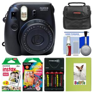 Fujifilm Instax Mini 8 Instant Film Camera-Black-with Photo Album and Instant Film and Rainbow Film and Case and Batteries and Charger Kit