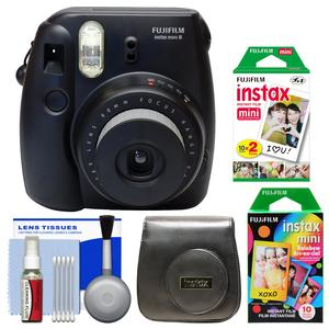 Fujifilm Instax Mini 8 Instant Film Camera-Black-with 20 Twin and 10 Rainbow Prints and Case and Kit
