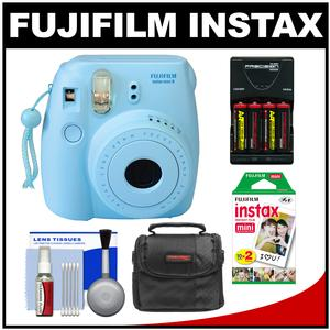 Fujifilm Instax Mini 8 Instant Film Camera-Blue-with 20 Instant Film and Case and-4-Batteries and Charger and Kit