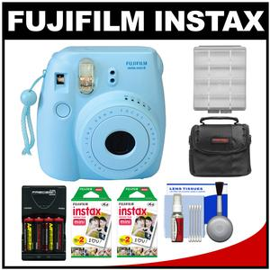 Fujifilm Instax Mini 8 Instant Film Camera-Blue-with 40 Instant Film and Case and Batteries and Charger Kit