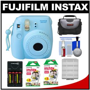 Fujifilm Instax Mini 8 Instant Film Camera-Blue-with 40 Instant Film and Case and Batteries and Charger and Kit