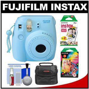 Fujifilm Instax Mini 8 Instant Film Camera-Blue-with Instant Film and Rainbow Film and Case and Cleaning Kit