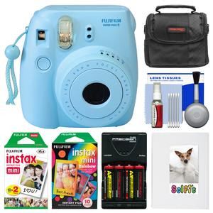 Fujifilm Instax Mini 8 Instant Film Camera-Blue-with Photo Album and Instant Film and Rainbow Film and Case and Batteries and Charger Kit