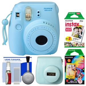 Fujifilm Instax Mini 8 Instant Film Camera-Blue-with 20 Twin and 10 Rainbow Prints and Case and Kit