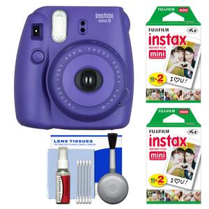 Fujifilm Instax Mini 8 Instant Film Camera-Grape-with 40 Instant Film and Cleaning Kit