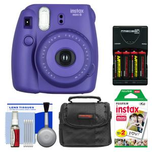 Fujifilm Instax Mini 8 Instant Film Camera-Grape-with 20 Instant Film and Case and-4-Batteries and Charger and Kit