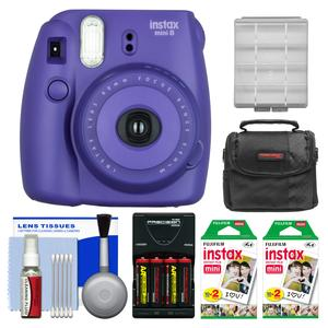 Fujifilm Instax Mini 8 Instant Film Camera-Grape-with 40 Instant Film and Case and Batteries and Charger Kit