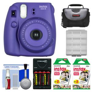 Fujifilm Instax Mini 8 Instant Film Camera-Grape-with 40 Instant Film and Case and Batteries and Charger and Kit