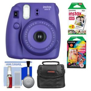 Fujifilm Instax Mini 8 Instant Film Camera-Grape-with Instant Film and Rainbow Film and Case and Cleaning Kit
