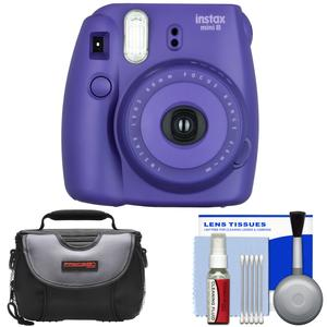Fujifilm Instax Mini 8 Instant Film Camera-Grape-with Case and Cleaning Kit