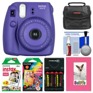 Fujifilm Instax Mini 8 Instant Film Camera-Grape-with Photo Album and Instant Film and Rainbow Film and Case and Batteries and Charger Kit
