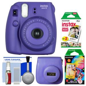 Fujifilm Instax Mini 8 Instant Film Camera-Grape-with 20 Twin and 10 Rainbow Prints and Case and Kit