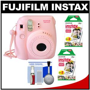 Fujifilm Instax Mini 8 Instant Film Camera-Pink-with 40 Instant Film and Cleaning Kit