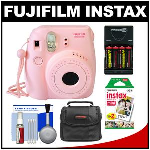 Fujifilm Instax Mini 8 Instant Film Camera-Pink-with 20 Instant Film and Case and-4-Batteries and Charger and Kit