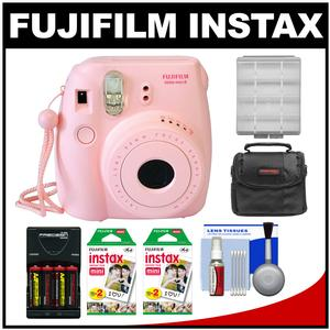 Fujifilm Instax Mini 8 Instant Film Camera-Pink-with 40 Instant Film and Case and Batteries and Charger Kit