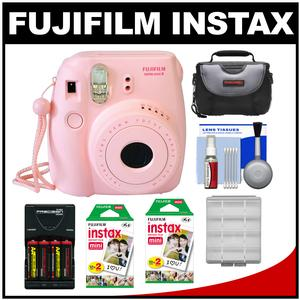 Fujifilm Instax Mini 8 Instant Film Camera-Pink-with 40 Instant Film and Case and Batteries and Charger and Kit