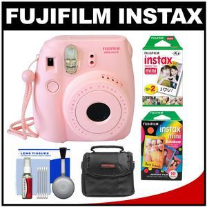 Fujifilm Instax Mini 8 Instant Film Camera-Pink-with Instant Film and Rainbow Film and Case and Cleaning Kit