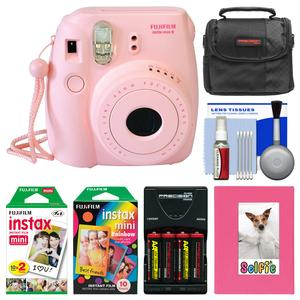 Fujifilm Instax Mini 8 Instant Film Camera-Pink-with Photo Album and Instant Film and Rainbow Film and Case and Batteries and Charger Kit
