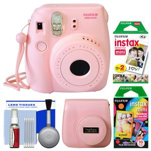 Fujifilm Instax Mini 8 Instant Film Camera-Pink-with 20 Twin and 10 Rainbow Prints and Case and Kit