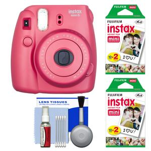 Fujifilm Instax Mini 8 Instant Film Camera-Raspberry-with 40 Instant Film and Cleaning Kit