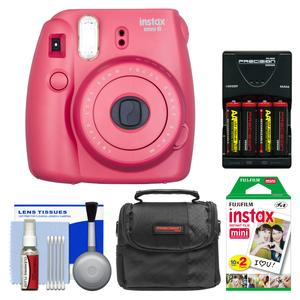 Fujifilm Instax Mini 8 Instant Film Camera-Raspberry-with 20 Instant Film and Case and-4-Batteries and Charger and Kit