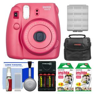 Fujifilm Instax Mini 8 Instant Film Camera-Raspberry-with 40 Instant Film and Case and Batteries and Charger Kit