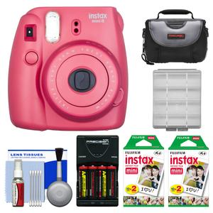 Fujifilm Instax Mini 8 Instant Film Camera-Raspberry-with 40 Instant Film and Case and Batteries and Charger and Kit