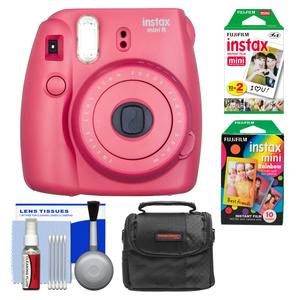 Fujifilm Instax Mini 8 Instant Film Camera-Raspberry-with Instant Film and Rainbow Film and Case and Cleaning Kit