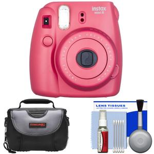 Fujifilm Instax Mini 8 Instant Film Camera-Raspberry-with Case and Cleaning Kit